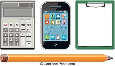 telefon, ikony, komplet, -, kalkulator