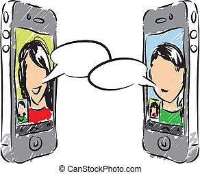 telefon, ilustracja, rozmowa
