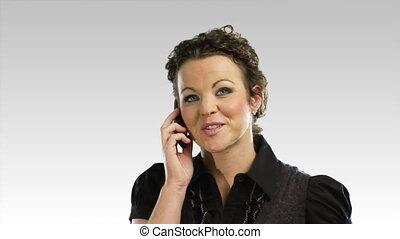telefon, jeden, 4, handlowa kobieta
