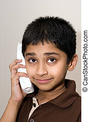 telefon, jelentékeny, indiai, kölyök, beszéd