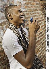 telefon, junger mann
