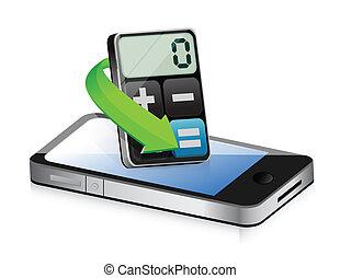 telefon, kalkulačka, moderní, apps
