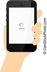 telefon, kereskedelmi, birtok, sablon, kéz