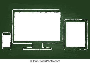 telefon, klug, monitor, tablette