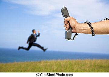 telefon, løb, forretningsmand, holde ræk