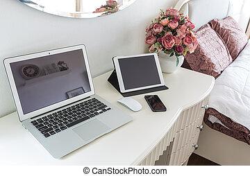 telefon, laptop, klug, tablette, tisch