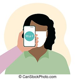 telefon, leute, gesundheit, überfliegen, entfernung, temperatur
