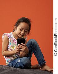 telefon, m�dchen, asiatisch, spielende