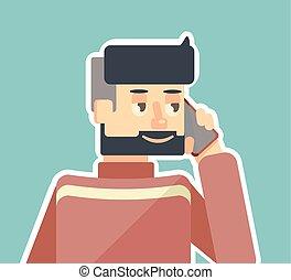 telefon, mówi, człowiek