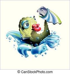 telefon, maga, furfangos, fish, birtok