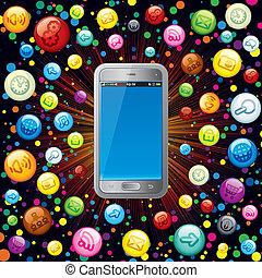 telefon, media, mądry, ikony