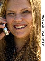 telefon, meglehetősen, szőke