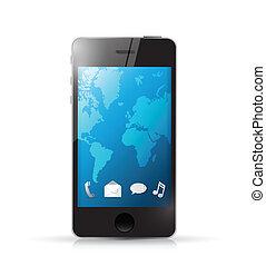 telefon, moderní, ilustrace, ikona