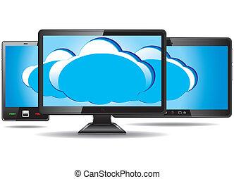 telefon, monitor, klug, wolke, tablette