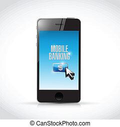 telefon, mozgatható, bankügylet, ábra, tervezés