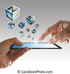 telefon, mozgatható, kéz, folyó, arcmás, 3