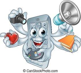 telefon, multitasking, begriff