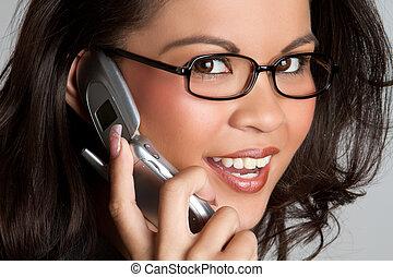 telefon, nő