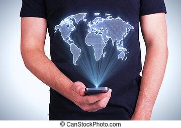 telefon, noha, digital világ, térkép