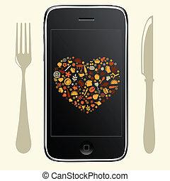 telefon, noha, táplálék icons