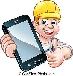 telefon, oder, begriff, mechaniker, heimwerker
