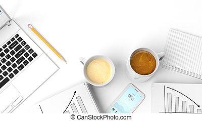 telefon, odizolowany, notatnik, filiżanki, dwa, laptop, ...