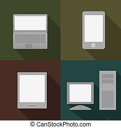 telefon, pc, tablette, und, laptop