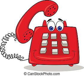 telefon, piros, karikatúra