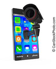 telefon, podoba, osamocený, grafické pozadí., kamera, neposkvrněný, 3