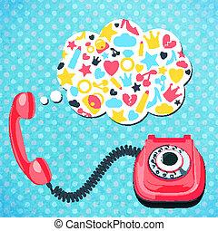 telefon, pogawędka, pojęcie, stary