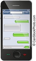 telefon, pogawędka, szablon