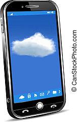 telefon, pojęcie, chmura