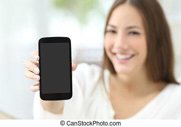 telefon, pokaz, ekran, gospodyni, czysty