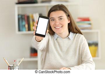 telefon, pokaz, ekran, student, mockup