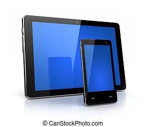 telefon, -, polster, freigestellt, digital, schirm, eigen, blaues, design, modern