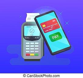 telefon, pos, karta, ruchomy, terminal, kredyt