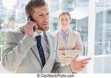 telefon, posiadanie, rozmowa, biznesmen