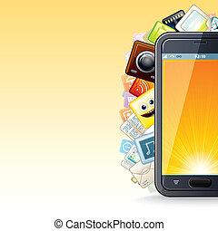 telefon, poster., furfangos, ábra, apps