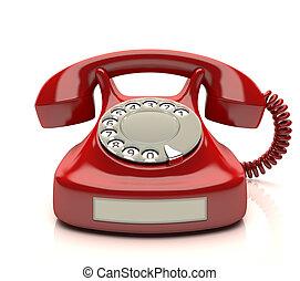 telefon, rød, etikette