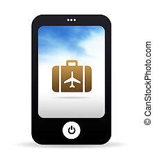 telefon, reise, beweglich