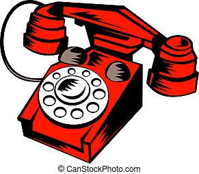 telefon, retro, weinlese
