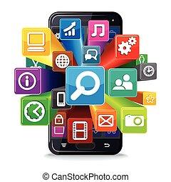 telefon, rewizja, wektor, apps, concept.