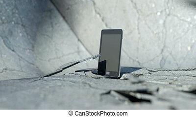 telefon, rozbijanie, mądry, podłoga
