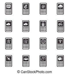 telefon, sæt, iconerne