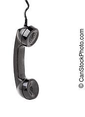 telefon, słuchawka, stary, wisząc