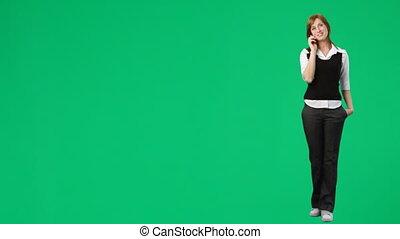 telefon, schirm, frau, grün, filmmeter