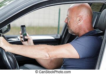 telefon, sicher, auto, mann