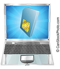 telefon, sim karte, ikone, laptop, begriff