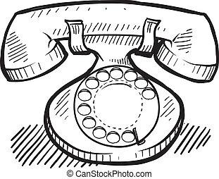 telefon, skiss, retro