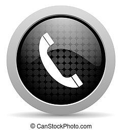 telefon, sort kreds, væv, blanke, ikon